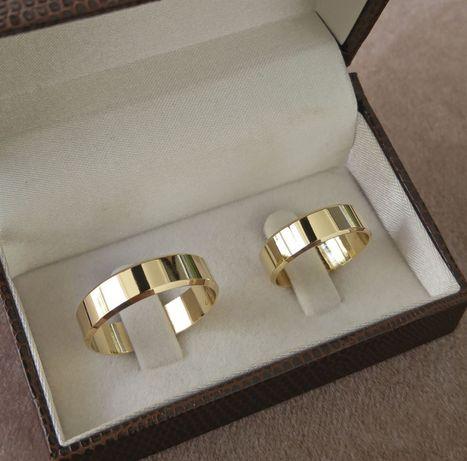 Pełna Elegancji Para Fazowanych Złotych Obrączek Ślubnych