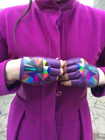 Перчатки без пальцев из итальянской кожи