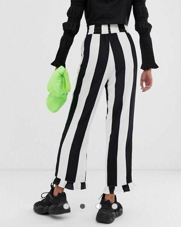 Широкие штаны палаццо с воланами полосатые штаны высокой посадки