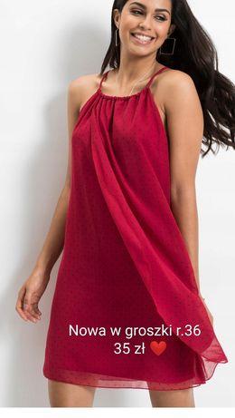 Zwiewna czerwona  sukienka w grochy 36