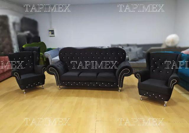 Zestaw sofa chesterfield wysokie oparcie dwa fotele uszaki glamour