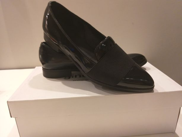 Obuwie Gino Rossi r.38 Buty Mokasyny czarne lakierowane półbuty