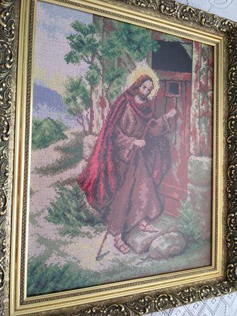 """Sprzedam obraz """"Chrystus puka do drzwi"""" wyszywany haftem krzyżykowym"""