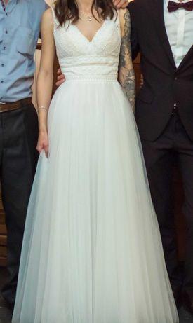 Suknia ślubna - haftowana góra