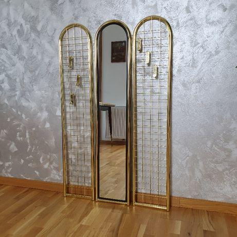 Złota garderoba - wieszaki ścienne i lustro, Niemcy lata 70