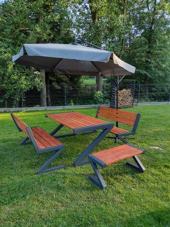 Stol lawka metalowe drewniane meble ogrodowe