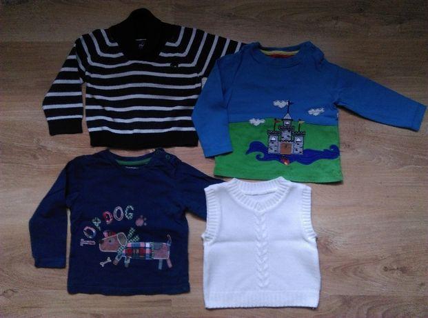 r. 80 Bluzki z długim rękawem, sweterek i bezrękawnik