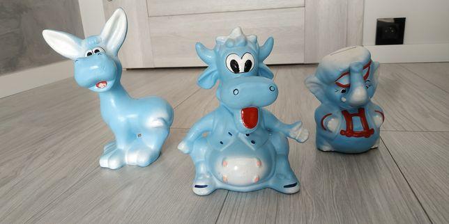 Skarbonka skarbonki 3 szt ceramiczne zwierzęta niebieskie