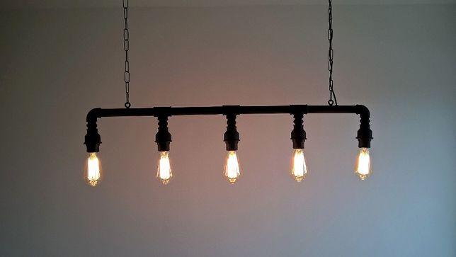 lampa sufitowa industrialna, loft, z rur hydraulicznych