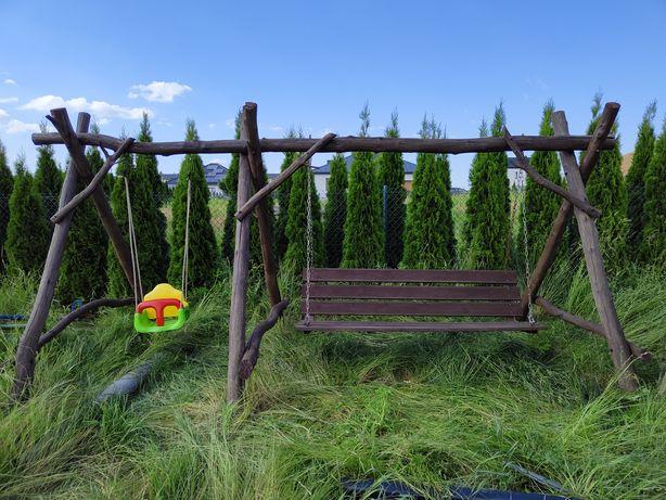 Huśtawka ogrodowa Dębowa masywna duża
