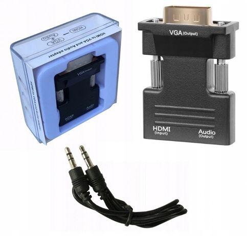 Adapter Konwerter VGA D-SUB do HDMI + Audio dźwięk