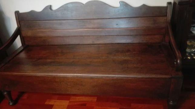 Unikatowa,przepiękna antyczna sofa-ławka w całości z litego dębu