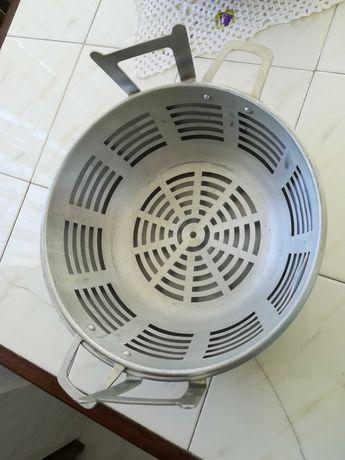 frigideira com cesto em alumínio - nova