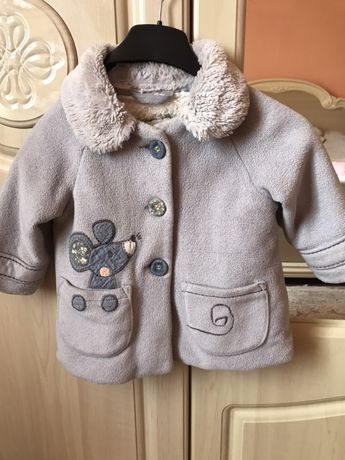 Пальто тепленьке сіре Next 9-12 осень весна