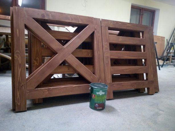 Balustrada,barierka drewniana krzyżowa na taras balkon w domku altanie