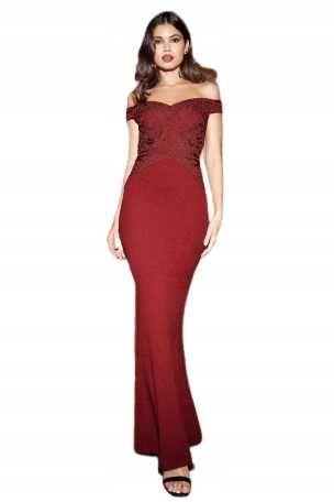25) Wieczorowa bordowa suknia 46 NOWA