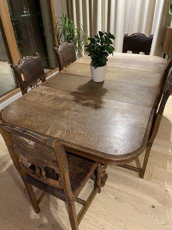 Stół z krzesłami stary