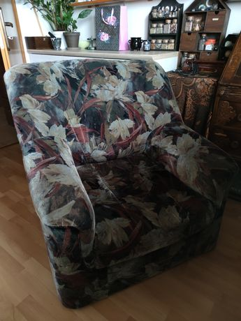 Wygodny fotel vintage retro PRL duży