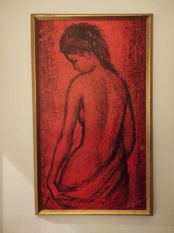 Obraz, kobieta, akt, drewniana złota rama