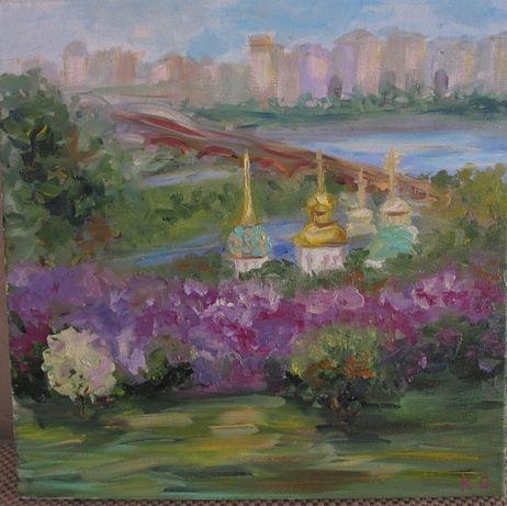 Картина Етюд, Над бузковими схилами Дніпра, холст, масло