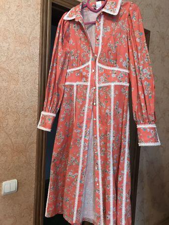 Дизайнерское льяное платье рубашка