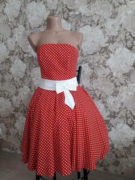 Платье красное в горох корсет пышное дорогие ткани