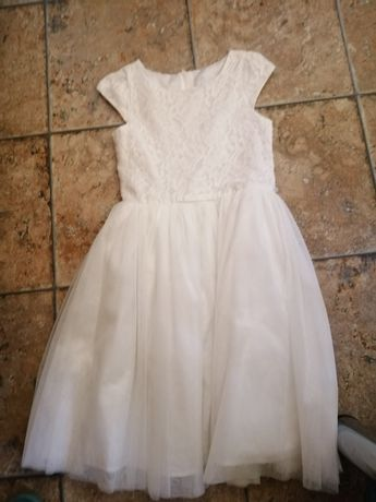 Biała sukienka tiulowa roz 140