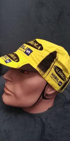 VINI CALDIROLA Mobil czapka kolarska oryginał z epoki Nos Nowa UNIKAT