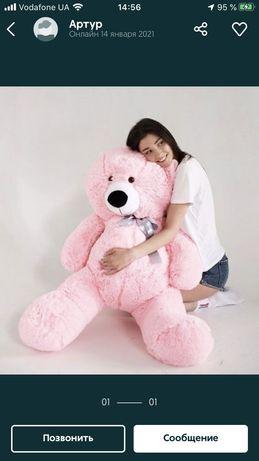 Новий плюшевий ведмедик рожевий 120 см Плюшевый мишка розовый