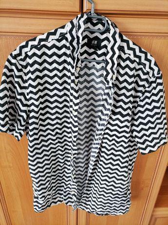 Koszula męska L Czarno - Biała