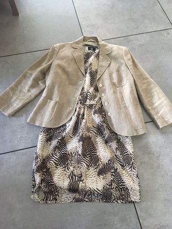 żakiet lniany BOGNER+sukienka Reserved
