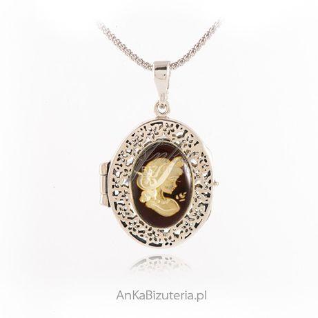 ankabizuteria.pl Puzderko srebrne z bursztynem KAMEA - Oryginalna biżu