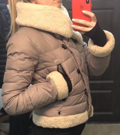 Тёплая зимняя куртка натуральный мех и перо