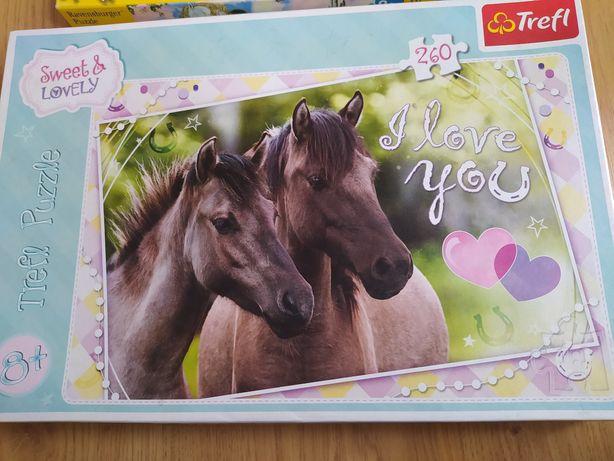 Puzzle Trefl konie i puzzle księżniczka ravensburger