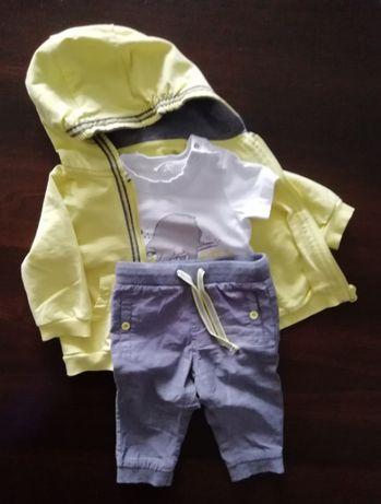 """Komplet: bluza, spodnie, body """"coccodrillo"""" rozm. 68"""