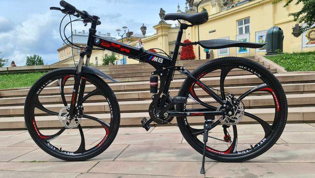 """Горный велосипед BMW BLACK WHITE на литых дисках 26""""17' складной N0114"""