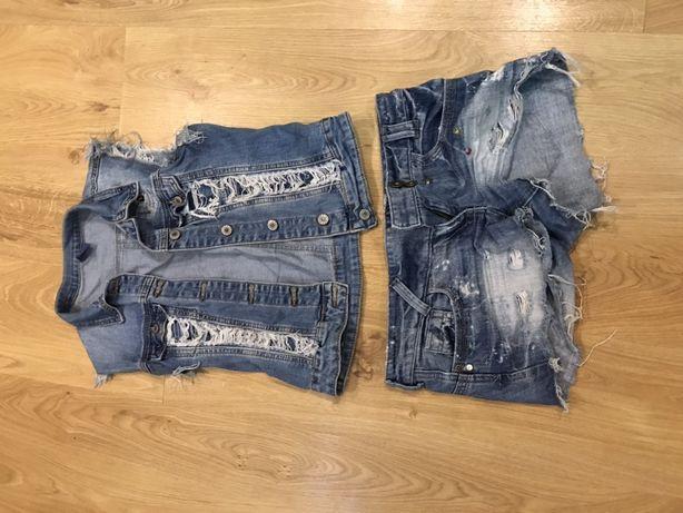 Джинсовые шорты и жилетка S- М