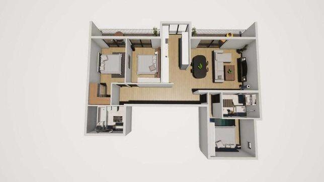 Imagens 3D. Apartamento T3 em Rio Tinto. Condomínio privado. UGARDENS