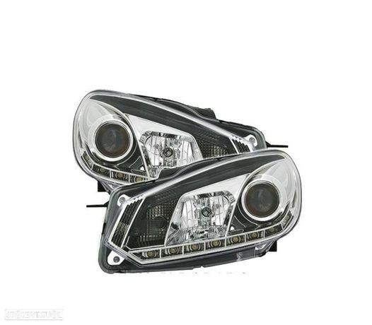 FARÓIS COM LUZ DIURNA LED / VW GOLF 6 VI / 08+ FUNDO CROMADO