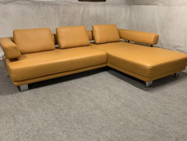 Угловой фирменный диван кожа Hukla електро привод Диван шкіра кутовий
