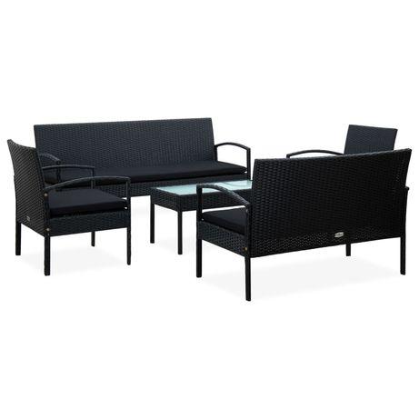 vidaXL 5 pcs conjunto lounge de jardim c/ almofadões vime PE preto 45791