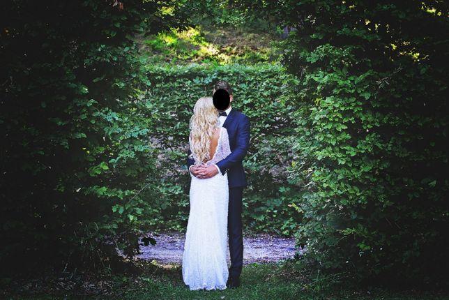 Suknia Ślubna tren gołe plecy