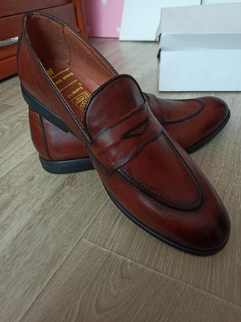 Мужские кожаные лоферы, туфли 45