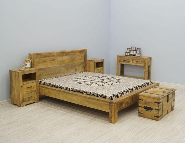 Łóżko kolonialne lite drewno mango loft industrialne indyjskie 160x200