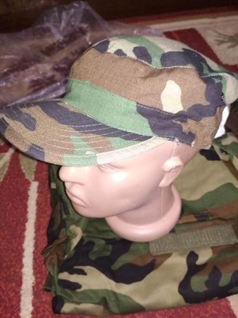Милитари камуфляжная кепка Woodland - ткань rip-stop, новая, р.60