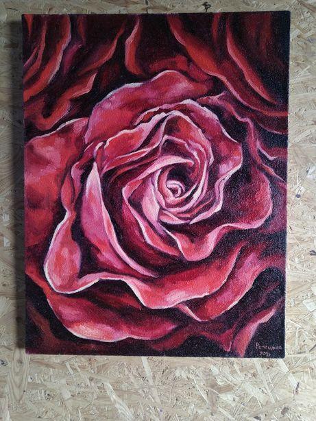 Авторская большая картина маслом на холсте роза цветы 50х65