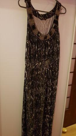 Suknia długa ze złoceniami przy dekolcie