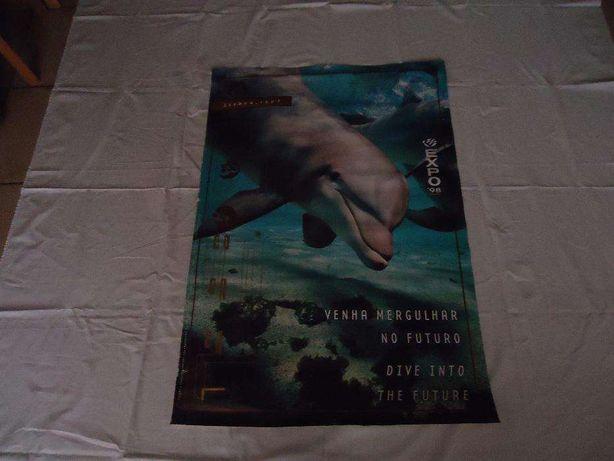 """Expo'98 - Poster """"venha mergulhar no futuro"""" golfinho."""