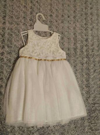 Koronkowa tiulowa biała sukienka 92 na wesele