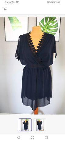 Włoska sukienka zwiewna granatowa gipiura wesele ML